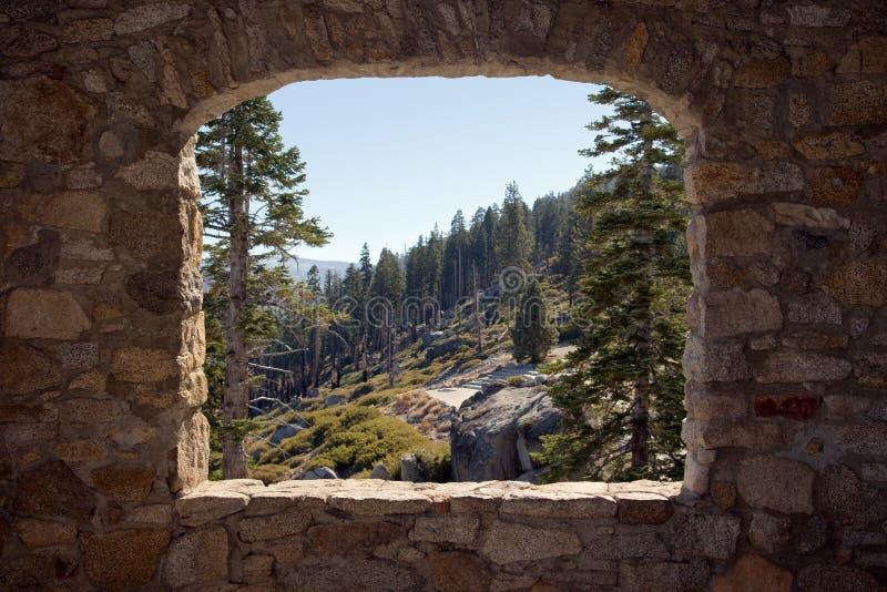 View Through a Stone Window royalty free stock photo