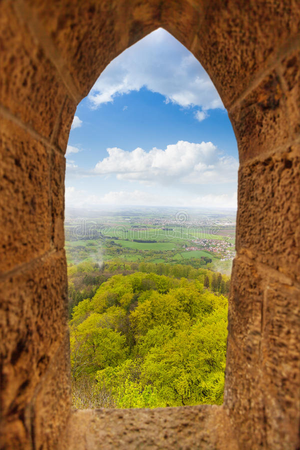 View from stoned loophole window of Hohenzollern stock photo