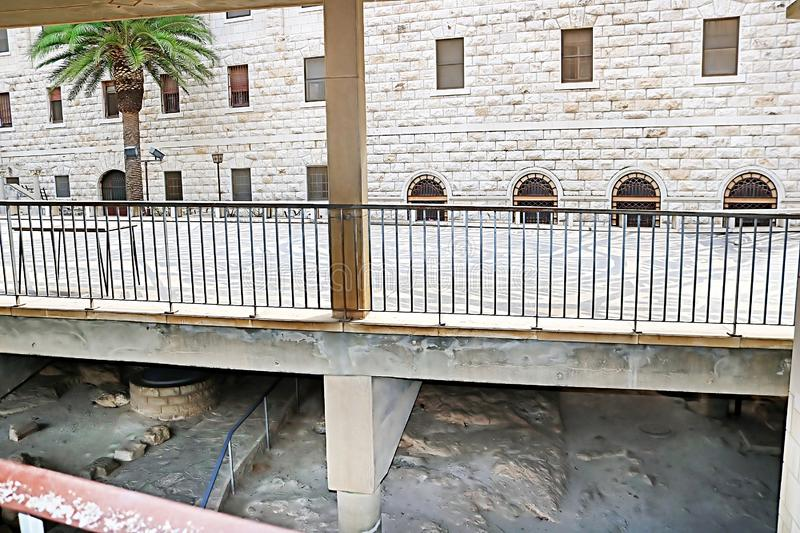 View of stones in lower level of the church, the Basilica of the Annunciation, Church of the Annunciation in Nazareth stock photography