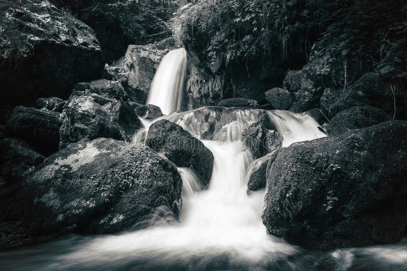 View of the stony rapids in mountain river. stock image