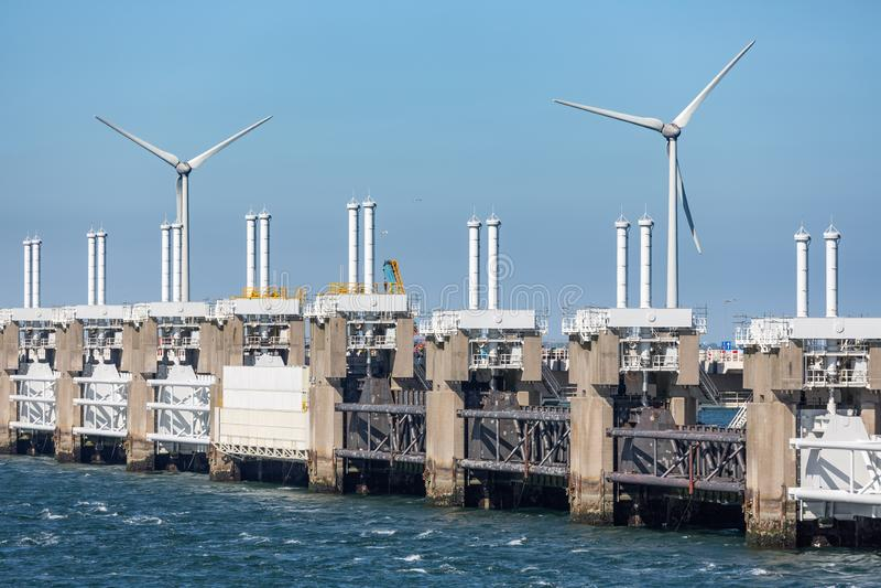 View at storm barrier Oosterscheldekering in Zeeland, The Netherlands royalty free stock image