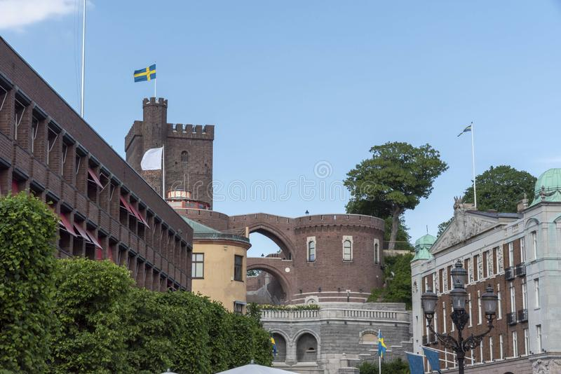 View from Stortorget in Swedish town Helsingborg. In summer stock photos