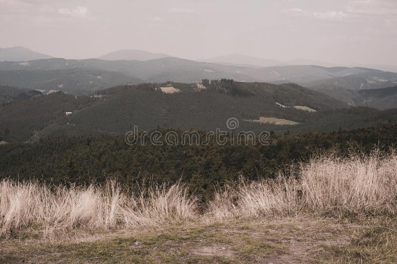 View from Stratenec / Ztratenec, Javorniky, Beskid mountains, Czech Republic / Czechia stock images