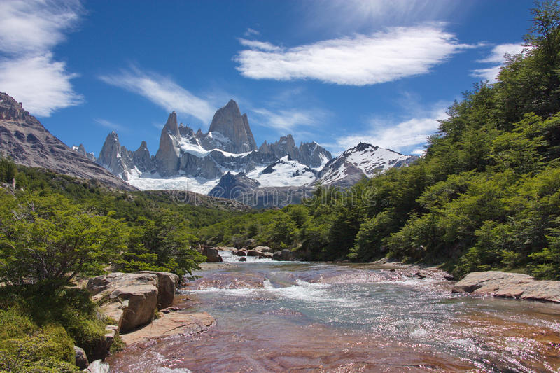 View from a stream on Fitz Roy mountain. In Los Glaciares National Park in Argentina stock photos