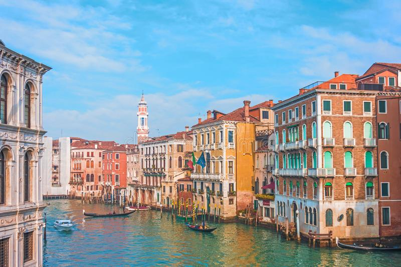 View of the street canal in Venice, colorful facades of old houses royalty free stock images
