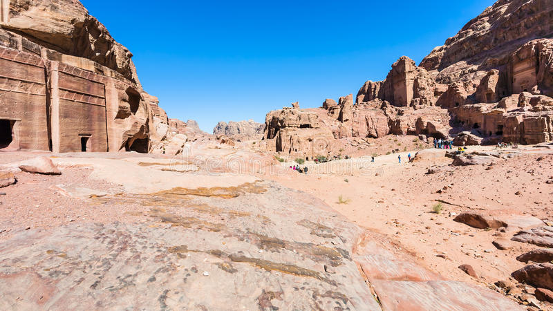 View of Street of Facades in Petra town royalty free stock image