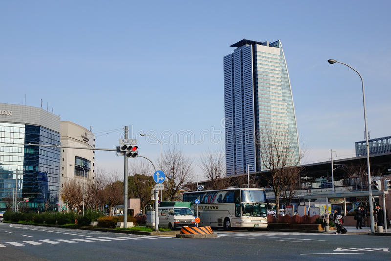 View of street in Nagoya, Japan. Cars stopping on the street in Nagoya, Japan stock images
