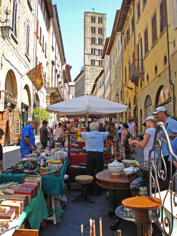 A view of a street nearby the Piazza Grande in Arezzo in Italy. royalty free stock photos