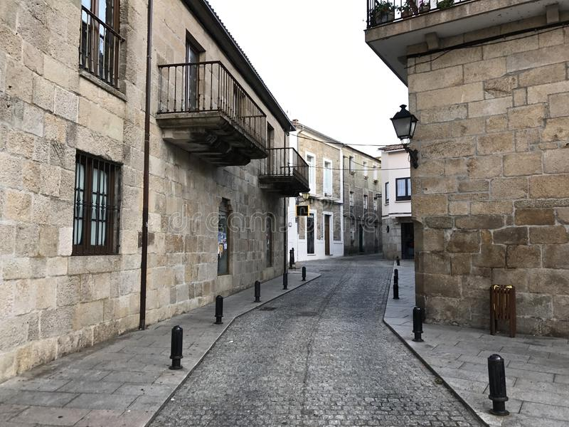 View of a street and old buildings in Cambados Galicia Spain stock photo