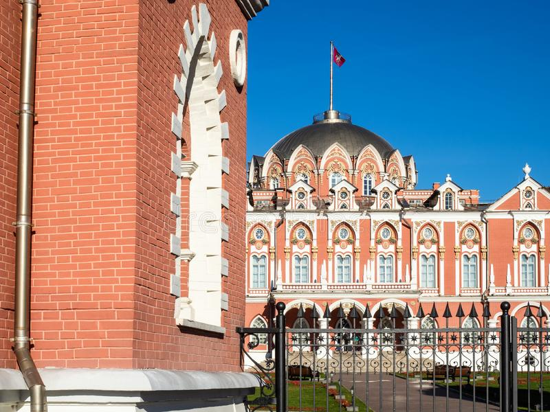 View from street of old Petrovsky Traveling Palace. View from street of old Petrovsky Traveling (Driveway) Palace on the Tver Road (Leningrad Prospect) in Moscow royalty free stock photography