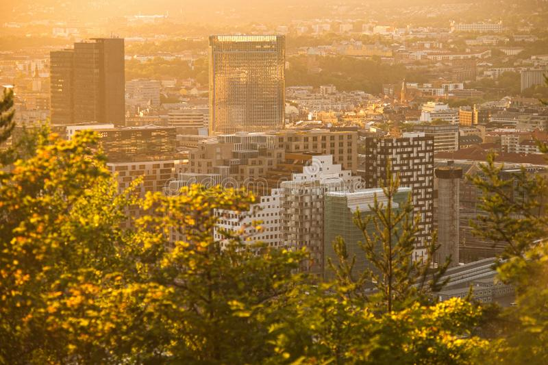 View of street in the Oslo business center at sunset time. Golden hour. Modern architecture. Norway. View of street in the Oslo business center at sunset time stock photos