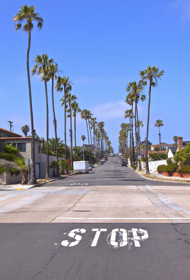 view of a street in san diego california stock image image of cars street 43813061. Black Bedroom Furniture Sets. Home Design Ideas