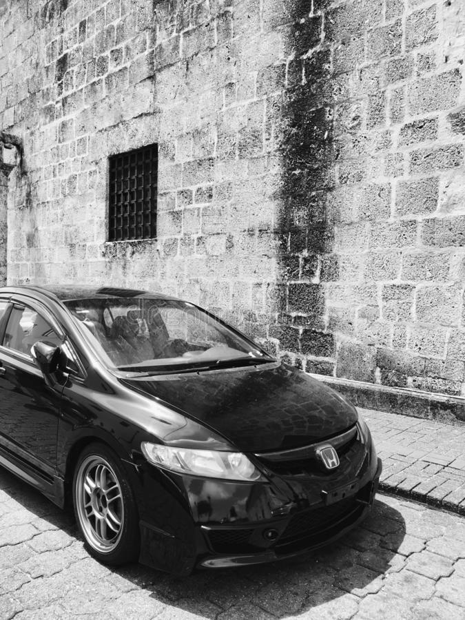 CARS ON THE STREETS OF SANTO DOMINGO. View of street in Santo Domingo, Dominican Republic. Parked cars on the streets of the capital of Dominican Republic royalty free stock photo