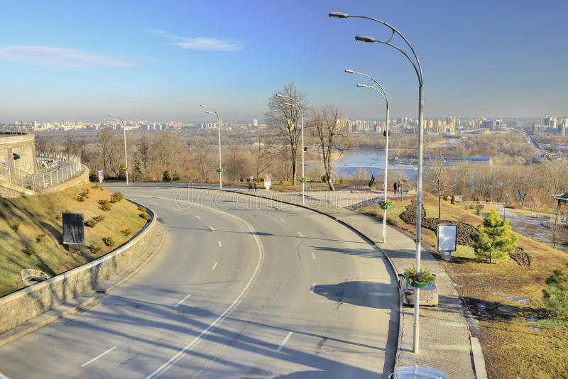 View of the street on the slopes of the Dnieper stock photos