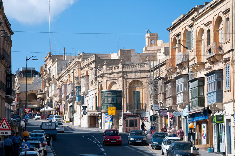 View of a street in Victoria, Rabat, Gozo royalty free stock images