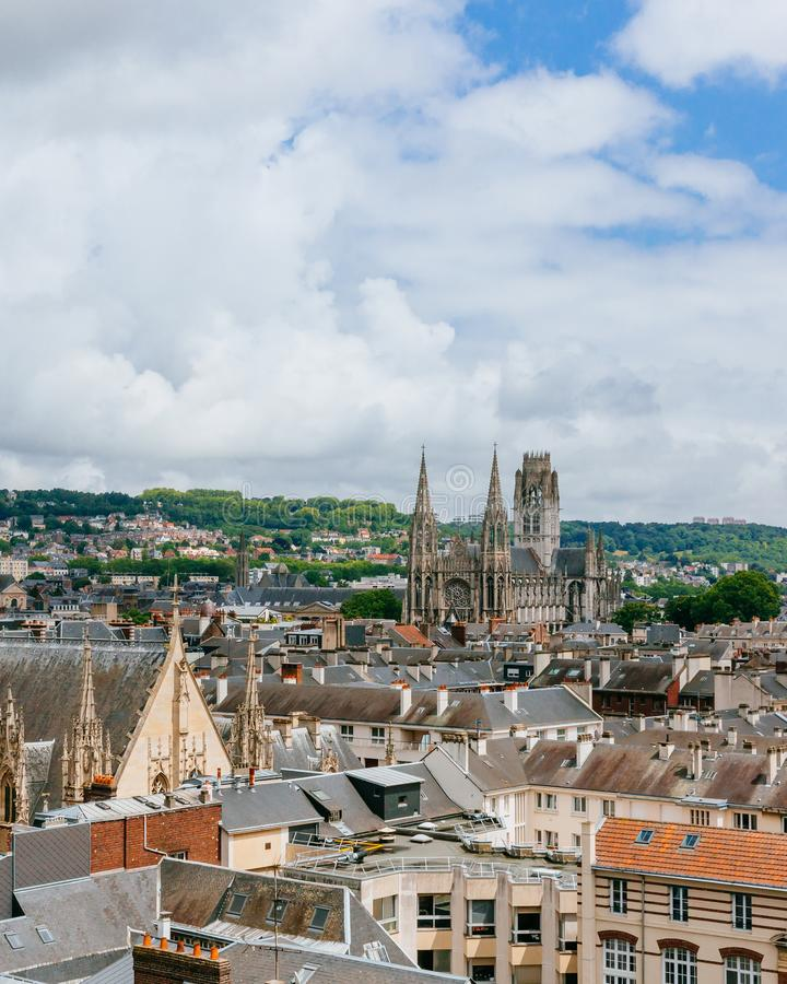 View of the streets and architecture in the historical city center of Rouen, France, with Saint-Ouen Abbey Church in the distance. Panoramic view of the streets royalty free stock photos