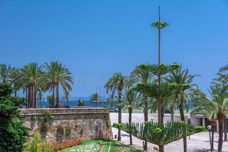 View of the streets of the city of Palma, the capital of the island of Majorca. stock photography
