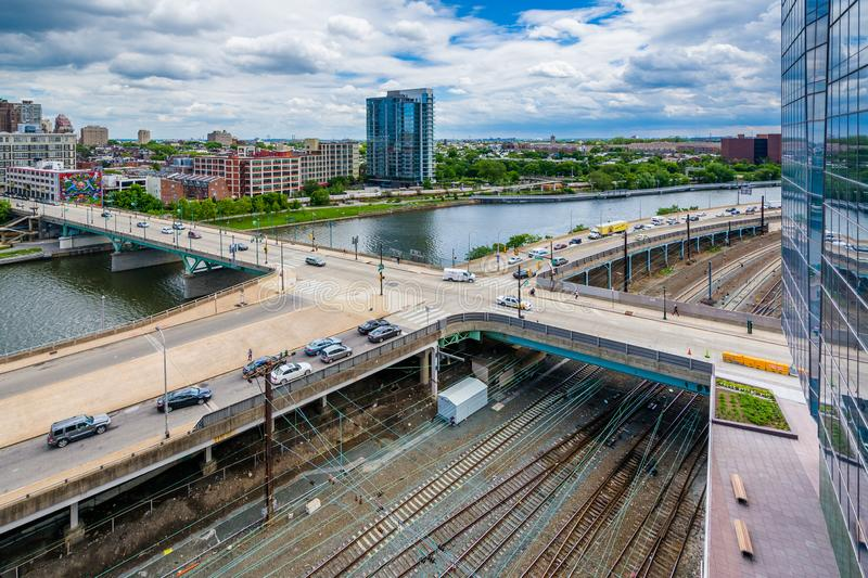 View of streets and railroad tracks along the Schuylkill River in Philadelphia, Pennsylvania.  stock photography