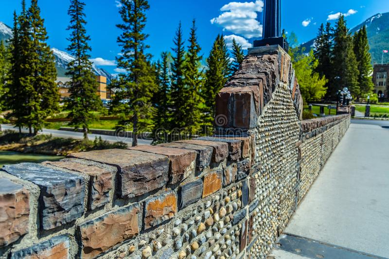 The Banff Avenue bridge in Banff National Park royalty free stock photography