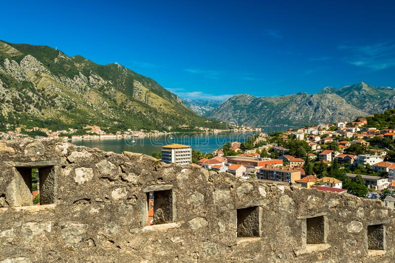 View of the stunning city walls of Kotor, Montenegro stock image