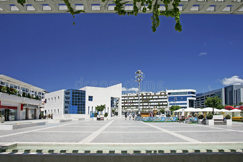 View Of Stunning Main Square In Puerto Banus, Southern Spain Royalty Free Stock Photography