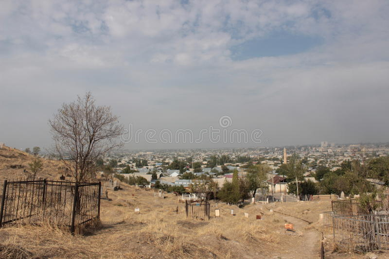 View from Suleiman-Too. View of Osh as seen from Suleiman-Too, an unesco-listed holy mountain located in the Fergana valley, Kyrgyzstan, central Asia. It's a royalty free stock image
