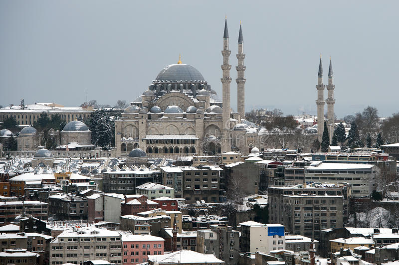 View Of Suleymaniye Mosque From Galata Tower. View of snowy Istanbul from Galata Tower stock photo