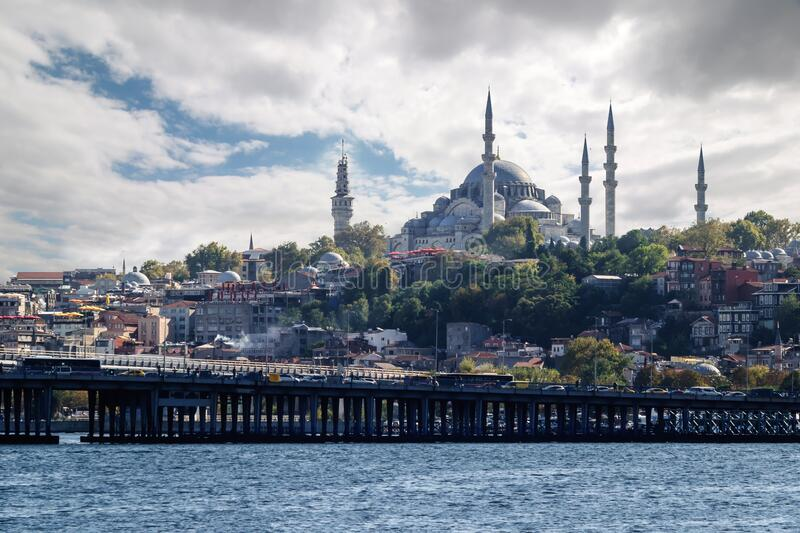 View of the Suleymaniye mosque from the Golden horn bay, Istanbul royalty free stock image