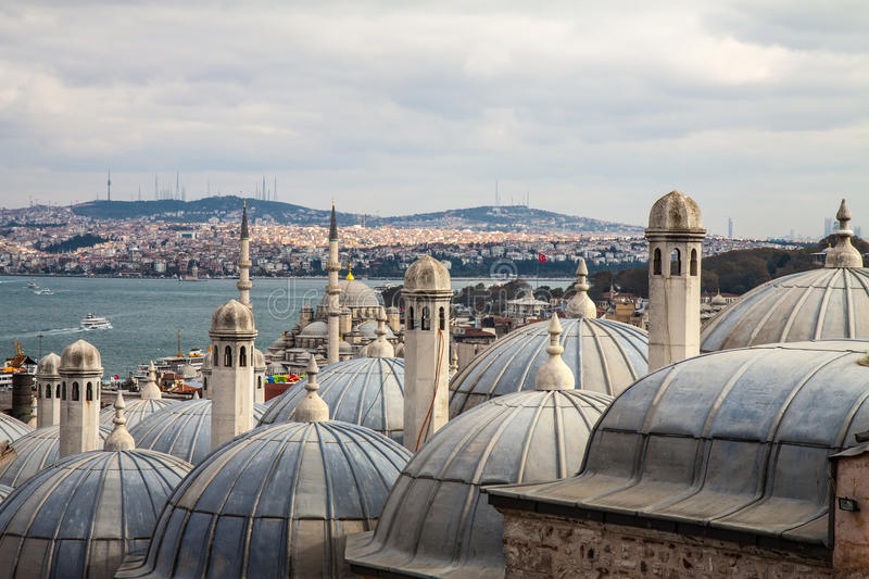 View from Suleymaniye mosque to Bosphorus, Istanbul stock photo