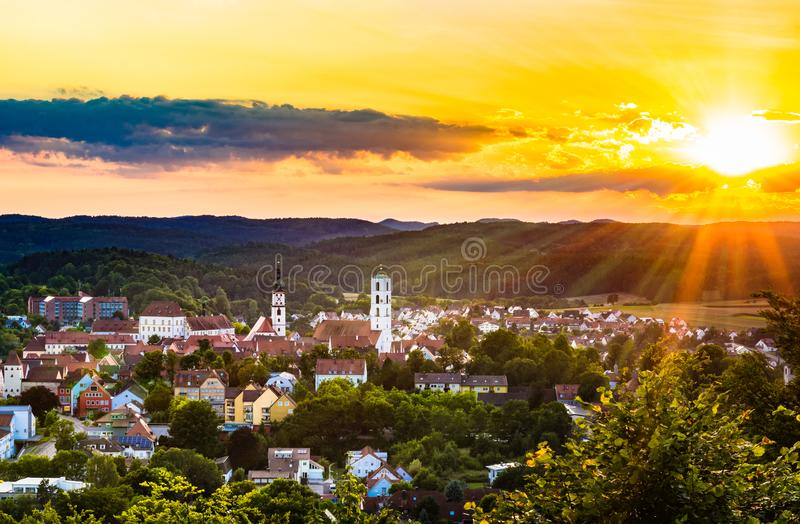 Town Sulzbach-Rosenberg Upper Palatinate Bavaria. View of Sulzbach-Rosenberg at sunset, town in the Upper Palatinate, Bavaria, Germany royalty free stock photo