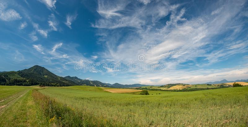 View summer foothills landscape lower tatra mountains. Vacation royalty free stock photos