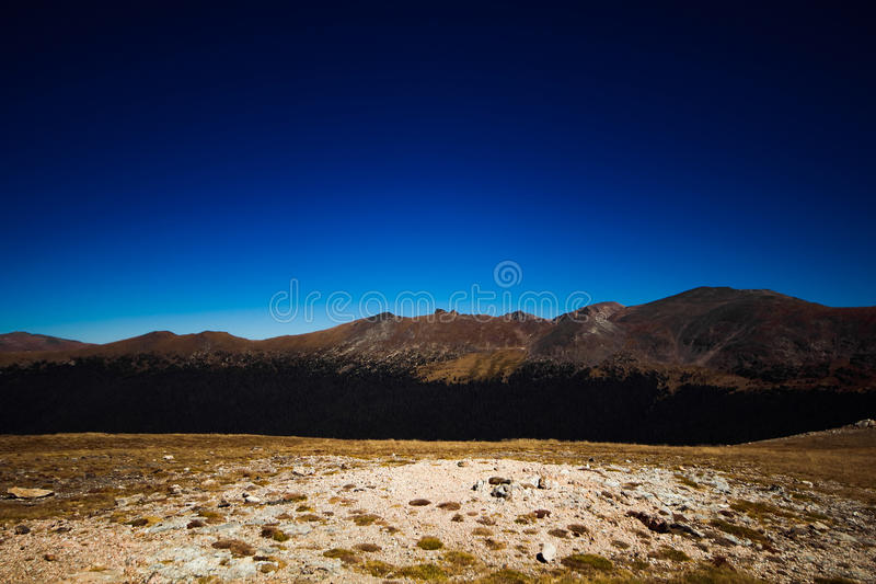View from the summit of the Alpine Visitors Center in Rocky Mountain National Park. Blue skies, golden grass and grey rocks provide a stunning view from the stock images