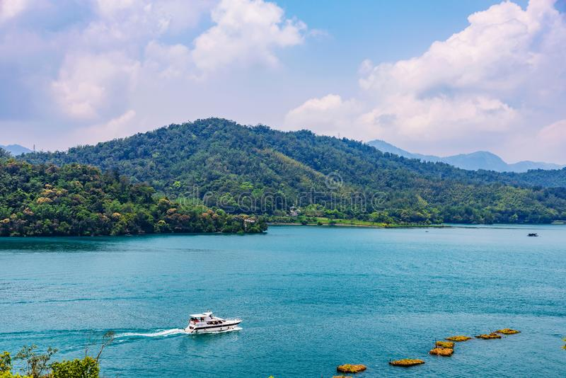 View of Sun Moon Lake with a boat stock images