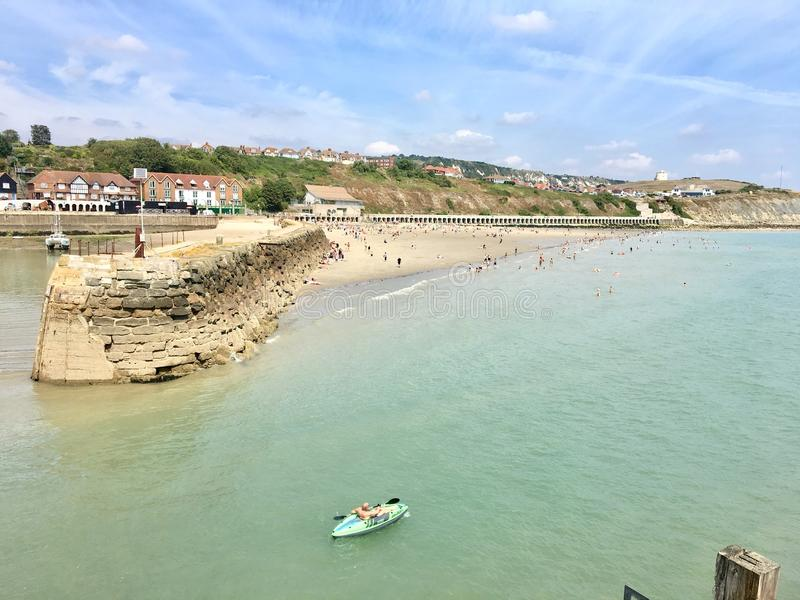 Sunny sands, Folkestone. View of Sunny Sands beach and cliffs with kayak in the foreground stock photo