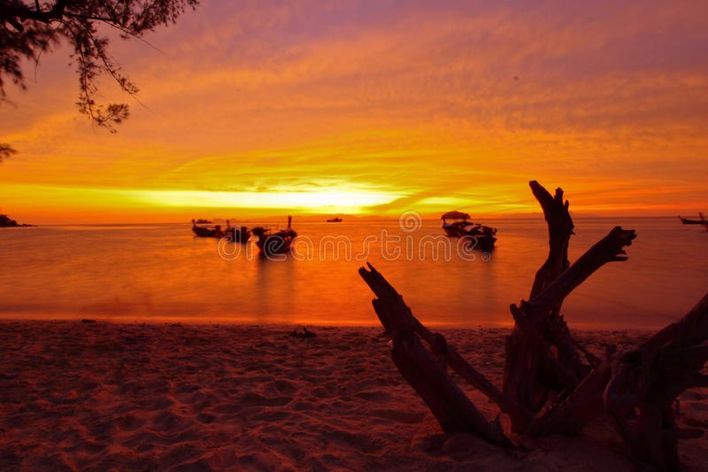 View at Sunrise beach on sunrise time royalty free stock images