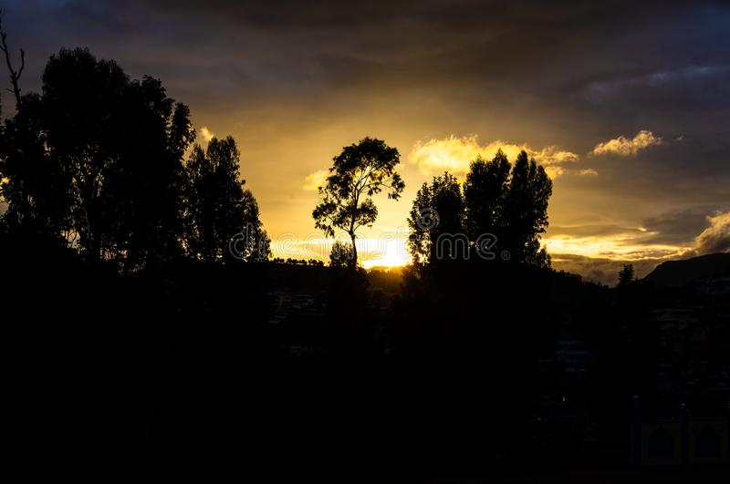 Sunset in Coonoor, Tamil Nadu stock photography
