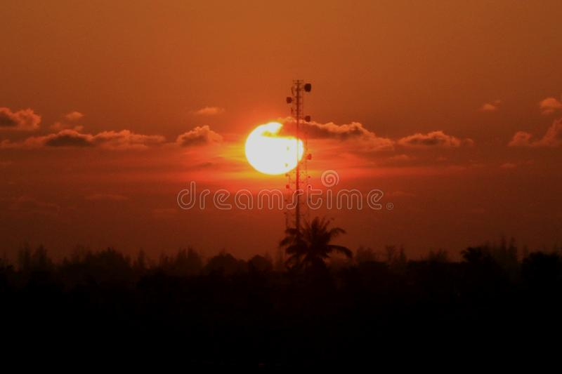 Sunset in Blangpidie, Indonesia royalty free stock images