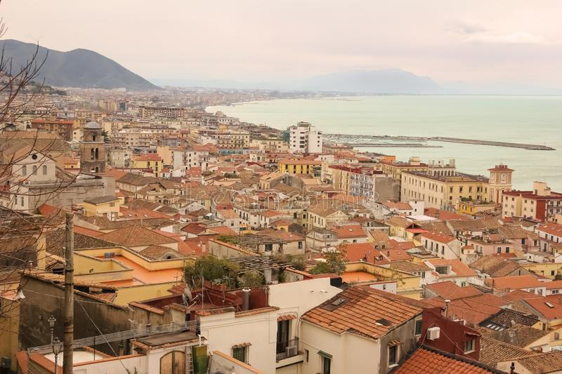 View at sunset. Salerno. Italy. View at sunset from Minerva `s garden. Salerno. Italy stock photo
