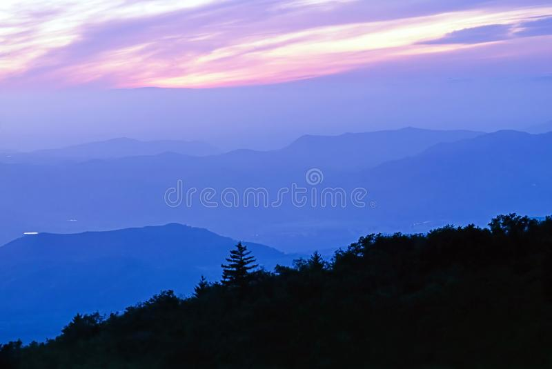 View of sunset from Mt.Palomar stock images