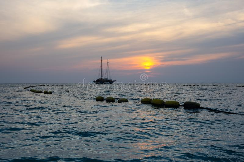 Sunset over Gulf of Thailand royalty free stock images