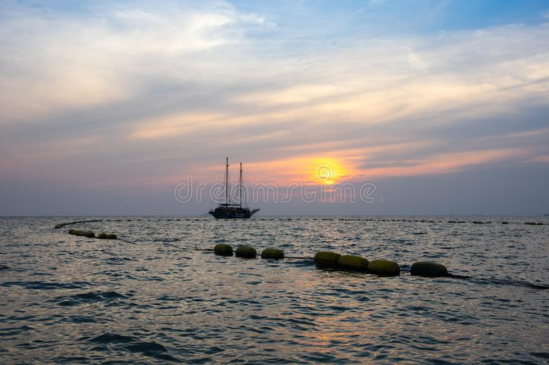Sunset over Gulf of Thailand stock images