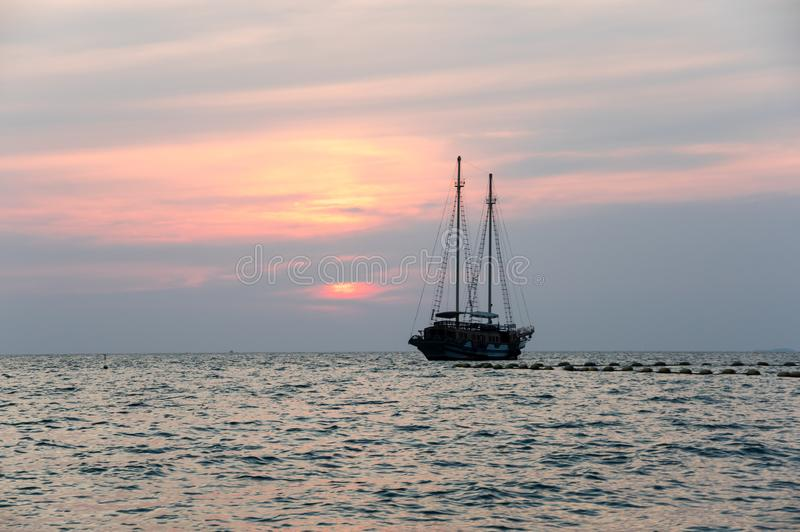 Sunset over Gulf of Thailand royalty free stock photography