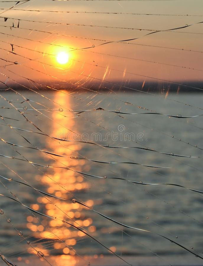 View of sunset in river royalty free stock photos