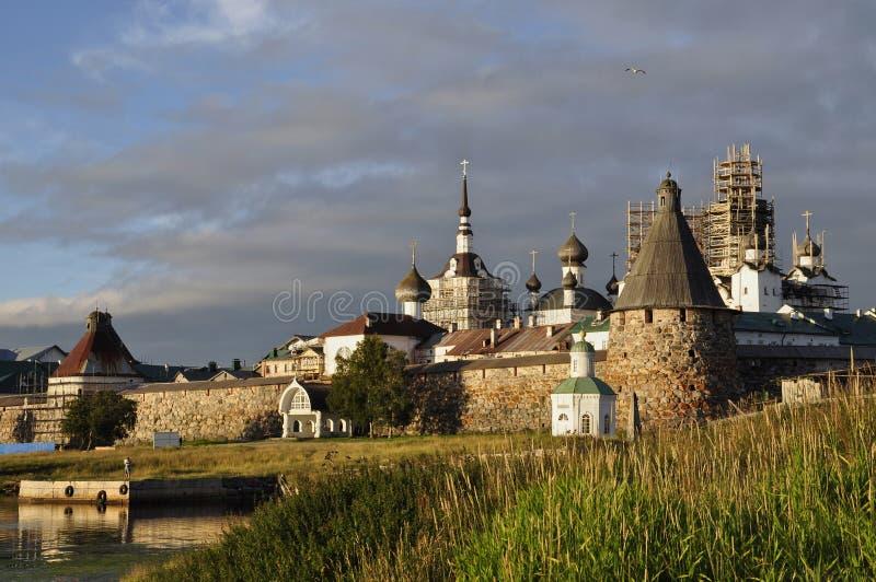 View at sunset of the Solovetsky Spaso-Preobrazhensky monastery. White sea, Russia, Solovki island stock photo