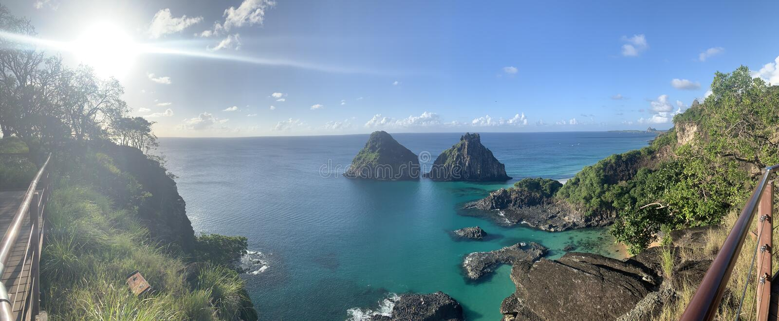 Two Brothers Mountain Noronha royalty free stock photo