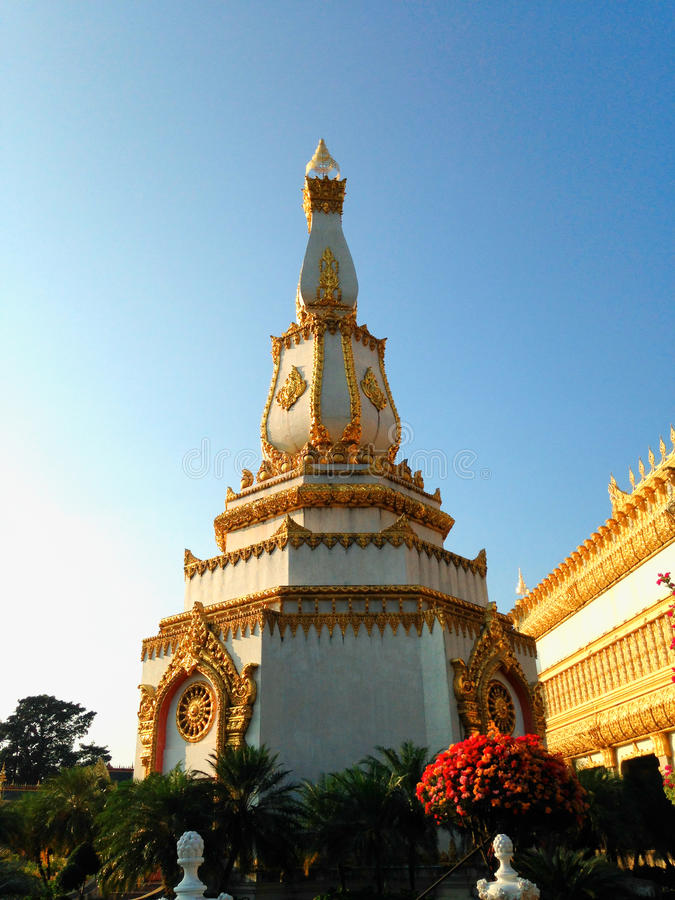 View of the sunset at Wat Pha Nam Thip Thap Prasit Wanaram, Thai temple in Roi Et province, Thailand. (public places). Located in the middle of nature royalty free stock photos