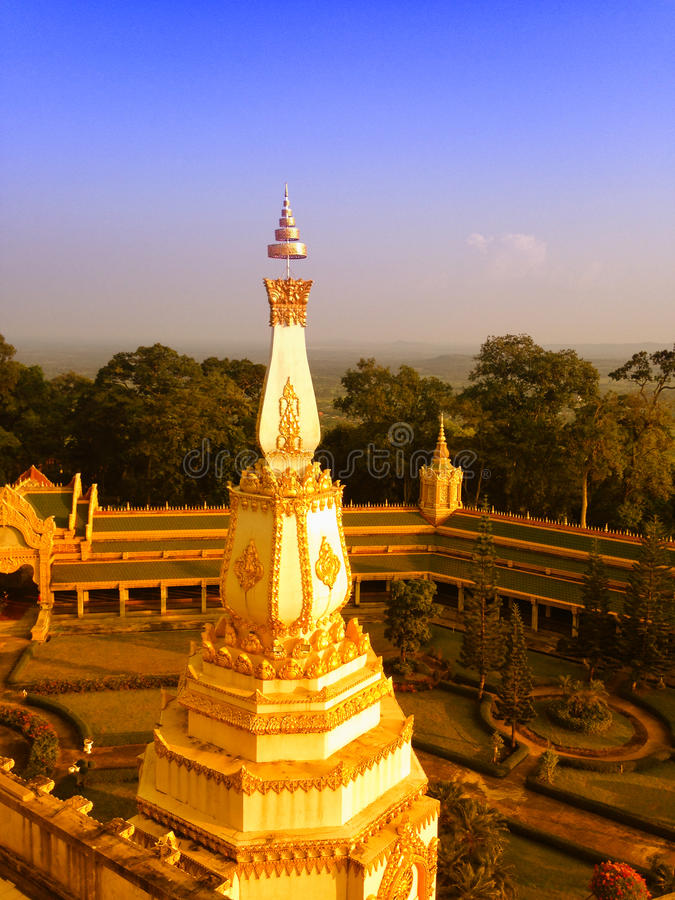 View of the sunset at Wat Pha Nam Thip Thap Prasit Wanaram, Thai temple in Roi Et province, Thailand. (public places). Located in the middle of nature stock photography