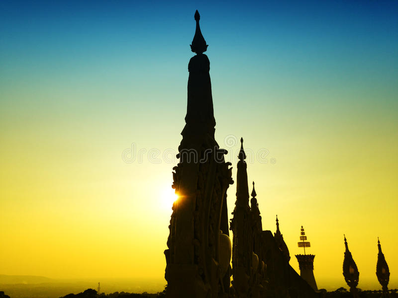 View of the sunset at Wat Pha Nam Thip Thap Prasit Wanaram, Thai temple in Roi Et province, Thailand. (public places). Twilight time stock image