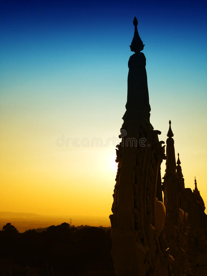 View of the sunset at Wat Pha Nam Thip Thap Prasit Wanaram, Thai temple in Roi Et province, Thailand. (public places). Twilight time stock images