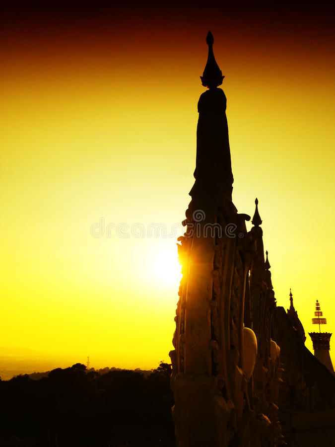 View of the sunset at Wat Pha Nam Thip Thap Prasit Wanaram, Thai temple in Roi Et province, Thailand. (public places). Twilight time stock photos